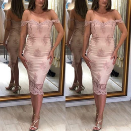 16w dresses tea length online shopping - 2019 New Cheap Sexy Cocktail Dresses Off Shoulder Pink Appliques Sheath Open Back Short Mini Tea Length Party Graduation Homecoming Gowns