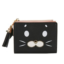 Discount vintage cat christmas cards New Arrival Short Coin Purese Lovely Cat Tassels Wallet Money Bags Women Wallet Lady Purses Pocket Clips Mini Bags Chang