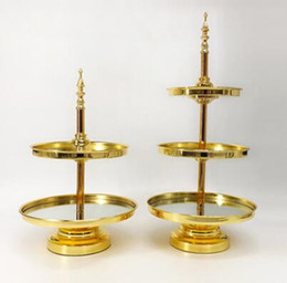house plates NZ - Mirrored Cake Stand Two Three Tier Plated Wedding Cake Shelf Dessert Tray Metal Wedding Display Tower
