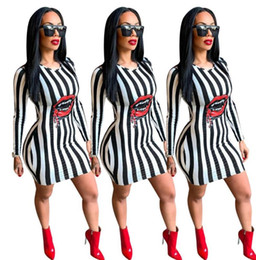 red lips clothing 2019 - Women Spring Striped Red Lip Design Dress Bodycon Dresses Fashion Clothes Dress cheap red lips clothing