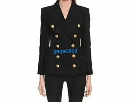 double shirt designs Australia - high end women girls black double-breasted blazer suit jackets peak lapel embossed gold-tone buttons shirt blouse fashion design luxury top