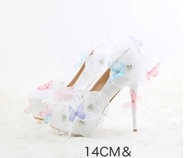 14cm Stiletto Shoes NZ - White lace flower wedding shoes 14cm Super high heel shoes Round head high heel Butterfly decoration Pu upper Rhinestone bridal shoes