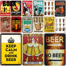 vintage shabby chic signs NZ - Ice Beer Plaque Metal Vintage Tin Sign Pin Up Shabby Chic Decor Metal Signs Vintage Bar Decoration Milan Retro Poster Pub Plate