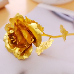 golden wedding roses NZ - 24K Golden Rose 50pcs Artificial Rose Flower 25cm Creative Gift for Lover Wedding Christmas Plated 24K Gold Foil Rose Romantic Presents