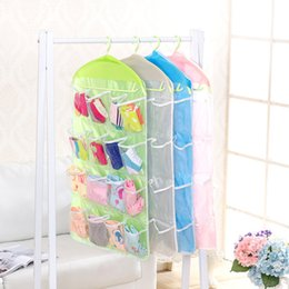 wall mounted clothes hanger rack UK - 16 Pockets Clear Hanging Bag Organizer Socks Bra Underwear Rack Multilayer Wall Mount Hanger Organizer Storage Bag