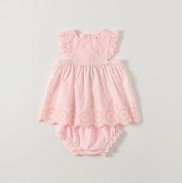 Baby Girls Shirts Design Australia - Baby Girls Clothing Kids sets Summer Sleeveless Embroidery Solid Color design O-neck shirt +short clothing sets summer princess clothing