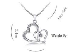 eeca2d2a57bf Cristal austriaco Diamonty Doble Amor Colgante Collar Llamativo Clase de  Moda Mujeres Niñas Señora Swarovski Elements Jewelry K3592