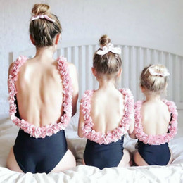 Mom Daughter Sets NZ - Mother Daughter Swimsuits 2019 Summer Family Matching Pink Flower Swimwear Sets Mom And Daughter Beach Sexy Bikini Clothes Y190523
