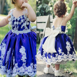 $enCountryForm.capitalKeyWord Australia - 2019 royal blue Flower Girls Dresses Custom Made 3d flower Lace spaghetti big bow sash back Special Occasion tea Length Long Pageant Gowns