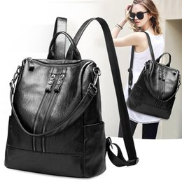 double shoulder backpack Australia - Casual Backpack Female Genuine Leather Women's backpack Large Capacity School Bag for Girls Double Zipper Shoulder Bags