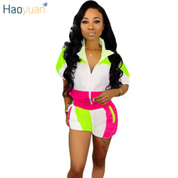neon clothes clothing NZ - Haoyuan Plus Size Two Piece Set Summer Clothes For Women Matching Sets Neon Top And Biker Shorts Sweat Suit Casual Tracksuit T3190614
