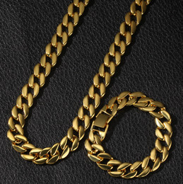 $enCountryForm.capitalKeyWord NZ - Hip Hop Gold and Silver Cuban Link Chain Necklace and Bracelet Set Mens Hiphop Miami Heavy Curb Punk Rapper Jewelry Gifts for Guys for Sale