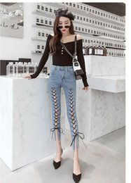 skinny lace jeans women Australia - 2019 Summer Women Sexy Lace Up Skinny Jeans Fashion Hollow Out Denim Pants Mid Solid Ankle-Length Pencil Pants