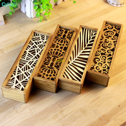 wood drawer boxes Australia - Fashion Vintage Style Convenient Hollow Wood Pencil Case Jewelry Storage Box Wooden Organizer Drawer Pen Holder School Gift