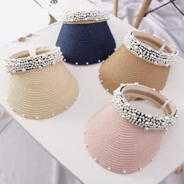 wholesale ladies sun visor hats 2019 - luxury 2019 New Women Pearl Headband Hat Visor Caps For Girls Beach Hats Braided Fashion Cap Lady Summer Straw Sun Hat d