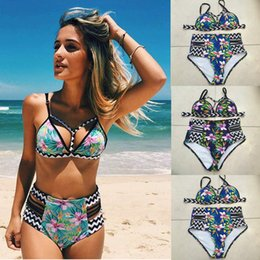 grey swimwear Australia - Women High Waist Swimsuit Bikinis Plus Size Swimwear Push Up Retro Strappy Floral Printed Bikini Set Bathing Suits Summer Beach Wear