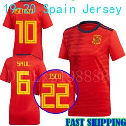 b71fde82d 2019 Spain Women World Cup Soccer Jersey 19 20 A .Iniesta Morata Girl Saul  Ramos Diego Costa Asensio Silva Isco Home Female Football Shirt