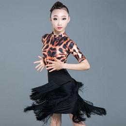 Belly dresses online shopping - Latin Dance Dress Girls Leopard Print Bodysuit Black Irregular Fringe Skirt Kids Costumes Rumba Cha Cha Samba Practice DN3882