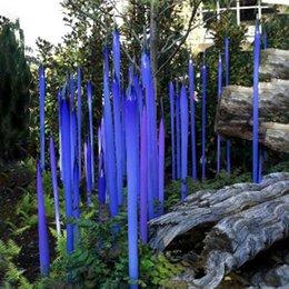 Современная муранское стекло Трость для сада Art Decoration Blue Glass Garden ваяния 100% Mouth выдувного стекла Сада скульптур на Распродаже
