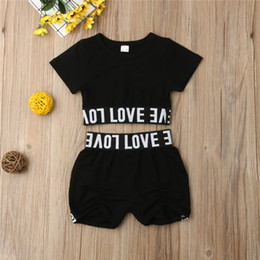 Cropped Tees Australia - Fashion Toddler Kids Girl Kid Child Black Crop Tee Top T shirt Short Pants Clothes Sunsuit Outfit Children's Sets