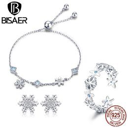 snowflake jewelry crystal set NZ - BISAER Genuine 925 Sterling Silver Snowflake Crystal Winter Bracelet Ring Earrings Jewelry Sets Luxury Valentine Gifts GUS065