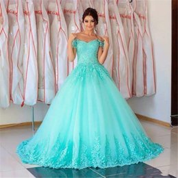 $enCountryForm.capitalKeyWord Australia - Elegant Saudi Arabia Turquoise Ball Gown Prom Dresses 2019 Off The Shoulder Lace Applique Back Lace up Corset Long Formal Evening Gowns