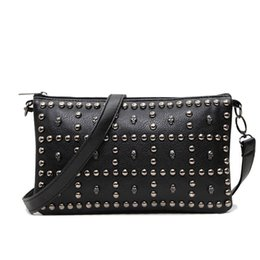 $enCountryForm.capitalKeyWord Australia - Rivet Soft Women Messenger Bags Leather Bag Long Strap Crossbody Clutch Handbag Designer High Quality Shoulder Bags Ladies