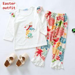 $enCountryForm.capitalKeyWord Australia - 1-5T Girl Easter Boutique Outfits Baby Rabbit design Ruffle sleeve Tops + flower Print Pant 2pcs Set