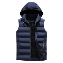 men s detachable collar UK - Nice Autumn Causal Men Vest Thicken Warm Hooded Waistcoat Male Sleeveless Jacket Slim Fit Mens Outerwear Hat Detachable XXXL