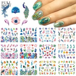 Peacock Lights Australia - 12 Designs Nail Sticker Slider Colorful Peacock Leaf Flower Water Decal Wraps Nail Art Decor Beauty Foil Manicure CHBN1201-1212