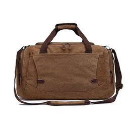 Wholesale Canvas Vintage Travelling Duffle Weekend Bag Men Women Luggage Package With Single Shoulder Strap Zipper Packs