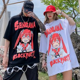 fire printed t shirts NZ - INS Super Fire Two-Dimensional Animation Girls Printed T-shirt Mens Oversize Loose National Fashion Hip-hop Couples Short Sleeve