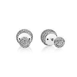 e4ee2eb9f Original High Quality 925 Sterling Silver CZ pave Drops water Double ball  Earring Fit Pandora Charms Jewelry Stud Earring with Box