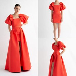 $enCountryForm.capitalKeyWord NZ - Red Satin Prom Dresses With Detachable Train Scoop Neck Short Sleeves A Line Party Gowns Formal Evening Summer Dresses