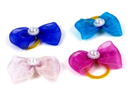 pearl hair accessory wholesale Australia - cute lovely Pet puppy Cat Dog pearl bow tie accessories hairpin Hair Bows with Rubber Bands Grooming Accessories Cute Pet Headwear Costume
