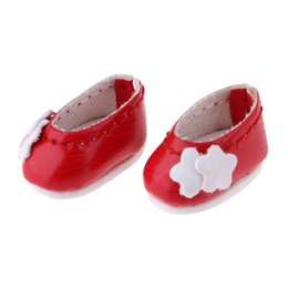 flower girl dolls UK - Fashion Flower Princess Leather Shoes for 1 12 15cm BJD Doll Accessories for Girls Christmas Gift Kids Toys -Red