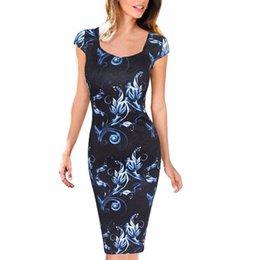 Plus Size Clothing Dresses UK - Casual Dresses Summer Sheath Women Dress Floral Print Vestidos Free Shipping Plus Size good quality drop shipping designer clothes