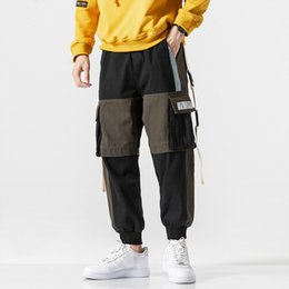 3xl sweatpants 2021 - MarchWind Autumn Sweatpants Joggers Men Streetwear Ribbons Pockets Cargo Pants Patchwork Casual Ankle-length Trousers Men