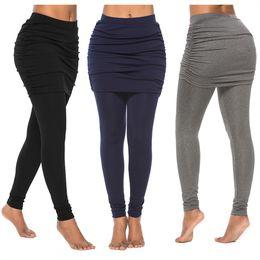 66c8d22b58 2019 new hot selling Buttock skirt pleated skirt fake two folding hip  lifting Yoga, Bottomwear Ankle Length Leggings S #278462