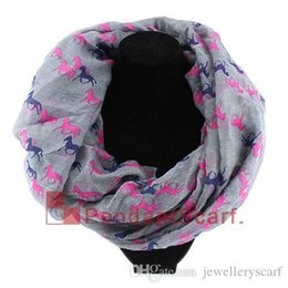 horse print scarf wholesale UK - New Fashion Women's Winter Infinity Scarf Running Horse Print Loop Ring Scarf Long Polyester Shawl 6 Colors Available, Free Shipping, SC
