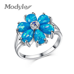 Discount blue opal jewelry sets - Wukalo Fashion White Blue Green Fire Opal Flower Rings for Women Trendy Engagement Wedding Jewelry