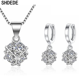 $enCountryForm.capitalKeyWord Australia - SHDEDE Jewelry Sets Personalized Pendant Necklace Earrings Set for Women Female CZ Accessories Anniversary Christmas Gift +