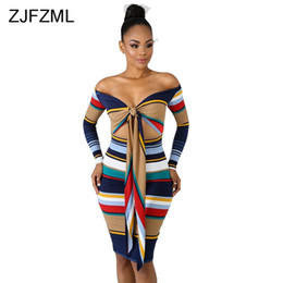 ac26913ae75 ZJFZML Striped Knitted Sexy Sweater Dress For Women Off Shoulder Long Sleeve  Bandage Vestidos Autumn Winter Backless Midi Dress