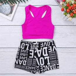 06383aa0457ee 2PCS Kids Girls Tank Top with Letters Printed Bottoms Athletic Shorts Dance  Gym Workout Vest Children Underwear Youth Tankini