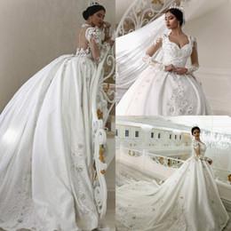 Discount wedding dress dubai abaya - Glitz Arabic Ball Gown Lace wedding dresses Dubai Abaya Long Sleeve 3d Appliques Plus Size Cathedral Train Bridal Gown I