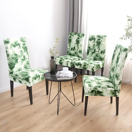 Offices Chairs Australia - Removable Chair Cover Seat Slipcover Graffiti Pattern Stretch Dark Green Office Home Elastic Chair Cover Wedding Banquet Decor
