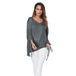 f6808c16b18 Hot Women T-shirt Ladies Casual V-neck T-Shirts Gray Long Sleeve Loose Tops Women  Clothes Summer Fashion