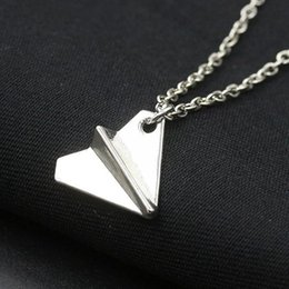 Direction One Jewelry Necklace UK - whole New One Direction Minimalist Clavicle Pendant Chain Necklace For Women Jewelry Punk Tiny Paper Plane Men Beach Collier