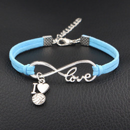 indian mens leather bracelets Australia - Vintage Charms Infinity Love I Heart Volleyball Pendant Jewelry For Womens Mens New Blue Leather Suede Rope DIY Bracelets & Bangles Pulseras