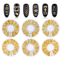 17 gold UK - 3D Gold Metal Rivets Nail Art Round Heart Decoration Nails Sticker Manicure Nail DIY Accessories 17 styles Free shipping